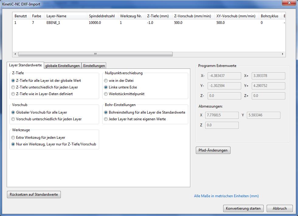 DXF Layer Standardwerte