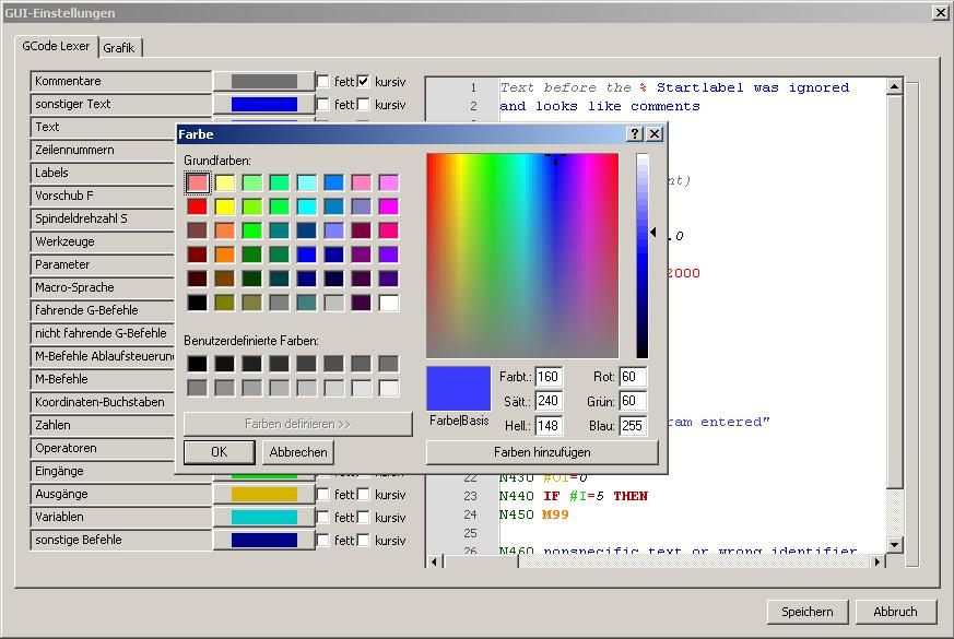 GUI Farben / Codes