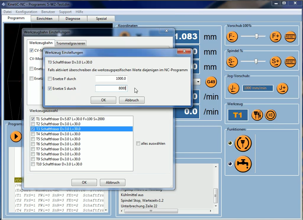 KinetiC-NC Video Werkzeugbahneinstellungen